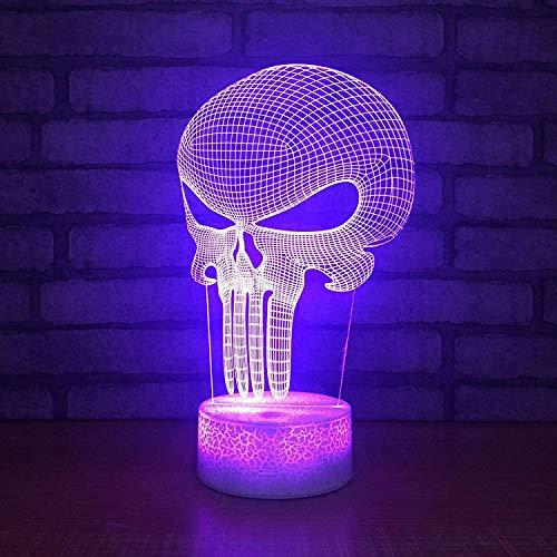3D-schedel masker nachtlicht illusie lamp 7 kleuren veranderende decorlamp, met afstandsbediening USB-kabel slaapkamer bureau decoratieve lamp