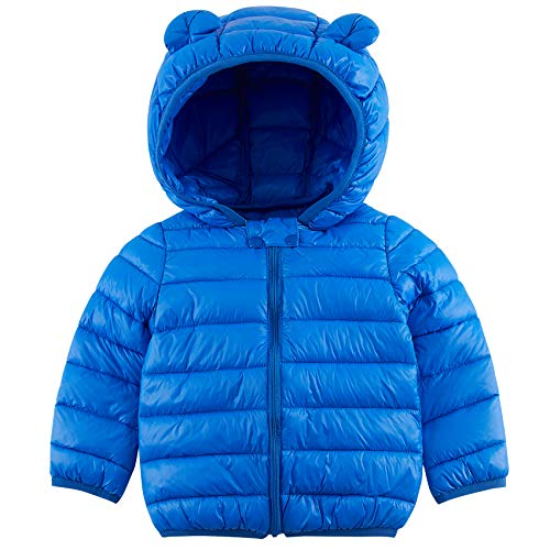 Baby Girls Boys Light Puffer Winter Coat Jacket with Hoods (Padded) Blue Solid Color Kids Simple Fall Outwear 1St Xmas Birthday Gifts for 6-12 Months Kids Outdoor Warmth, Travel, Snow Play