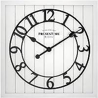 PresenTime & Co 21 Inch Farmhouse Square Shiplap Barn Door Wood Clock