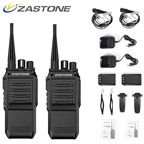 Zastone T3000 Walkie Talkies Long Range Rechargeable 6W UHF 400-520MHz 2200Mah Two Way Radio with Covert Air Acoustic Earpiece,16 Channels(2 Pack)
