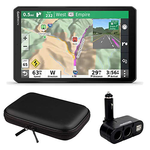 "Garmin 8"" RV GPS Navigator (010-02425-00) w/Hard Shell Case and Car Socket Bundle"