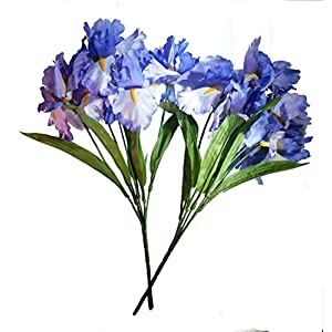 MM TJ Products Artificial Iris Bush: 5 Stems Pack of 2 (Lavender)
