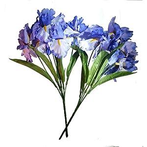 Silk Flower Arrangements MM TJ Products Artificial Iris Bush: 5 Stems Pack of 2 (Lavender)