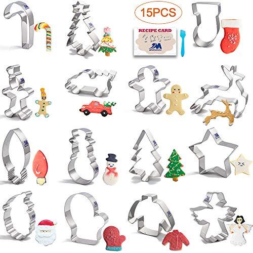 Cortador de galletas de Navidad Moldes para Galletas Navidad de 15 piezas de árbol de Navidad, hombre de jengibre, muñeco de nieve, ángel, reno, de acero inoxidable