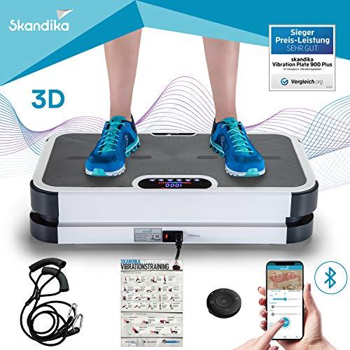 skandika Vibration Plate 900 Plus mit Smartphone-App, Vibrationsplatte mit rutschfester Trainingsfläche, Bluetooth Musik, Trainingsbändern, Fernbedienung, Trainingsposter, 3D Vibration durch 2 Motoren