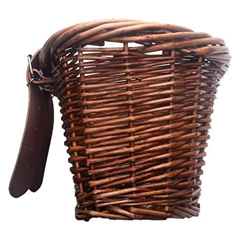 GCDN 40,6 cm Vintage Rattankorb mit braunen Lenkerschlaufen Stabiler Frontkorb Kinder Retro Handarbeit Fahrradkorb, braun, 22x18x14cm