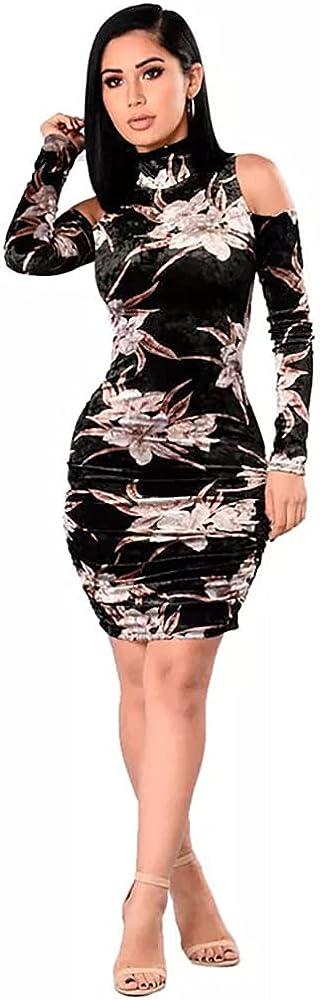 Vestidos Cortos de Fiesta para Mujer en Terciopelo Elegantes Casuales Estampado Floral De Moda Sexy Mini Negro