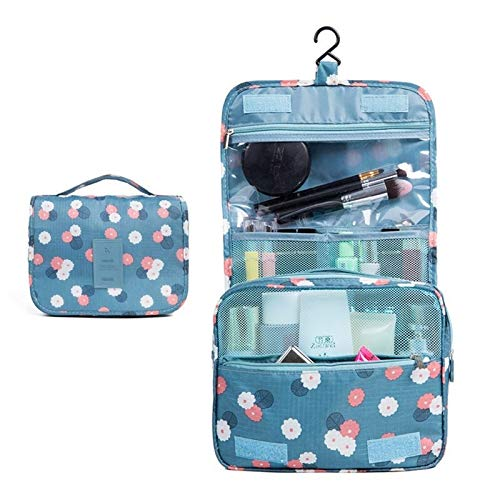 Centenarios Portable Travel Folding Make Up Toiletry Bags With Hook Organizer Bags Cosmetic Bags Blue Flower For Unisex (Color : Blue)