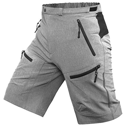 Cycorld Mens Mountain Biking Shorts Bike MTB Shorts Loose Fit Cycling Baggy Lightweight Pants with Zip Pockets Without Padded (Grey, L Waist:32'-34', Hip:40'-42')