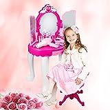 AYNEFY Tocador para niños y niñas, tocador para niños, tocador, princesa, con taburete, secador de pelo, maquillaje, juguete de mesa, color rosa