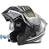Casco de Moto Modular Bluetooth Integrado con Doble Anti Niebla Visera Cascos de...