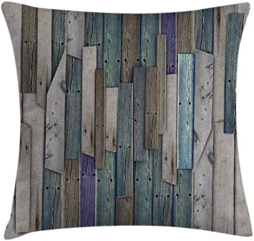 shyly Rustic Throw Kissen, Motiv of Blue Grey Grunge Wood Planks Barn House Door Nails Country Life Theme Print, dekorativer quadratischer Akzent Pillow Case, 61 x 61 cm, Teal Purple