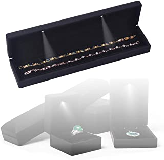 ZHome Jewelry Bracelet Necklace Chain Presentation Gift Box Display Case with LED Light Black