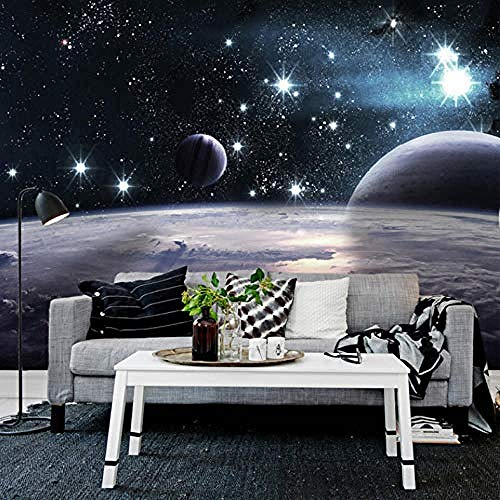 Fotobehang 3D Stereo Outer Space Star Mural Woonkamer Slaapkamer Sofa Tv Achtergrond Cafe Behang Mu Behang Grijs Muursticker Border Woonkamer voor Slaapkamer Rose Blauwe muurschildering Kinderen 350 cm.