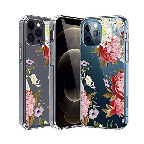 wonfurd Hülle Kompatibel mit iPhone 12, iPhone 12 Blumen Handyhülle Frau Case Cover Transparent Frau Slim Soft Silikon TPU Schutzhülle Kompatibel mit für iPhone 12 5G-15