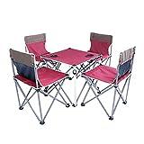 ZHHAOXINFC leicht Camping-Tisch-Set Falttisch mit 4 Klappstühlen inkl, Tragetasche Picknick Set Klapptisch Falthocker für Campen Angeln Wandern BBQ Ausflug Foldable, red