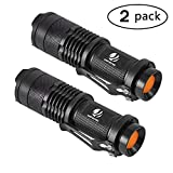yIFeNG Tactical Flashlight, 2 Pack LED Mini Taclight Water Resistant, Ultra Bright High