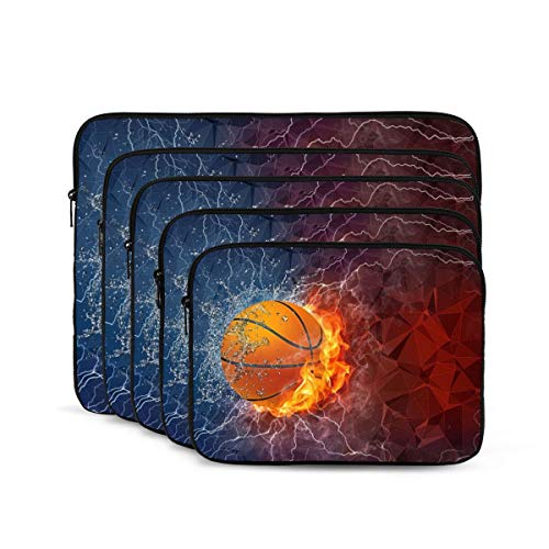 Basketball Print Laptop Sleeve 13 inch, Shock Resistant Notebook Briefcase, Computer Protective Bag, Tablet Carrying Case for MacBook Pro/MacBook Air/Asus/Dell/Lenovo/Hp/Samsung/Sony