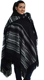Alpaca Wool Poncho Cape Ruana Cloak Pinstripe with Scarf Made in Peru