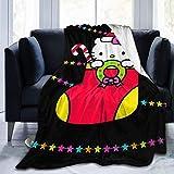 N \ B Komfort-Überwurfdecke, Hello Kitty-Design, warme Decke, Tagesdecke für Couch, Sofa, Heimdekoration, 152,4 x 127 cm