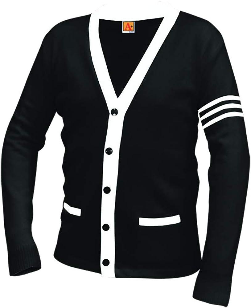 Averill's Sharper Uniforms Your Neighborhood Uniform Store Unisex 5-Button V-Neck with Contrasting Trim Varsity Cardigan
