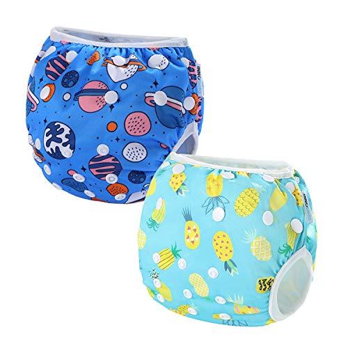 2 PCS InnoBeta Pañal de Natación, Bañador Pañal reutilizables para Bebé, pañales tela lavable para niños niñas 0-2 años(Size M), Piña + Espacio