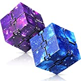 Infinity Cube 2 Pieces Fidget Cube Toy Stress Anxiety Relief for Adults and Kids Hand-Held Magic Puzzle Flip Cube Fidget Finger Toys Cube for ADD ADHD Killing Time Galaxy Space