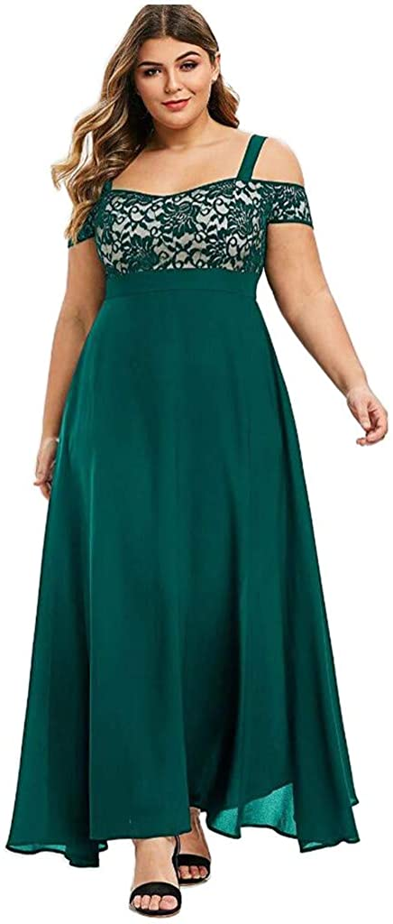 MIANHT Womens Dresses 2021 Solid Lace Cold Shoulder Spaghetti Strap Formal Long Dress Plus Size Short Sleeve Party Club Dress
