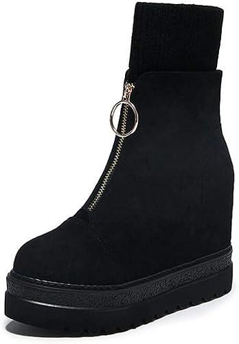 Mamrar 12Cm Talons Cheville Chaussure démarrageie Plate-Forme Chaussures Femmes Mode Round Toe Tricot Poignets épissage Partie Robe Chaussures Roma Chaussures De L'ue Taille 33-40