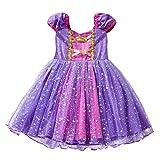 Prinzessinnen-Kostüm für Mädchen, Tüll, Prinzessin, Rapunzel, Kostüm, für Cosplay, Halloween, Geburtstag, Party-Kleid für Kinder, Kleinkinder, 1–6 Jahre 4-5 Jahre 110cm