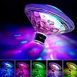 1 lámpara de baño flotante bajo el agua impermeable LED discoteca intermitente con 7 modos de patrón para bañera de hidromasaje, baño, piscina, estanque o discoteca