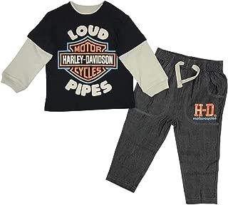 Harley-Davidson Baby Boys' Infant Denim Pant Set w/Long Sleeve Shirt 2063903