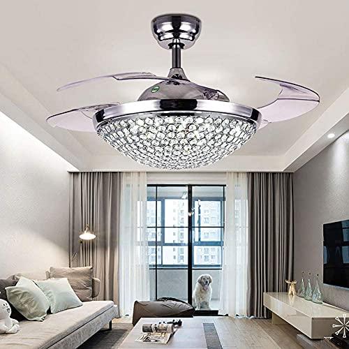 MAMINGBO Ventilador de techo con luz y control remoto de 42 pulgadas Beads de octágono moderno Luz de ventilador de techo con control remoto Hojas retráctiles, 3 colores 3 velocidades Araña de cristal