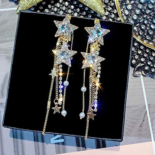 Pendientes Colgantes Largos con Aguja de Plata de Ley 925 auténtica para Mujer, joyería con Diamantes de imitación de Estrella Azul, Pendientes con Borla y Gota para Mujer