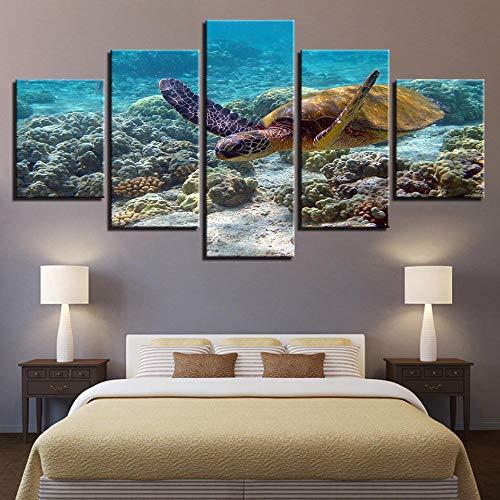 SFDHG 5 teiliges wandbild Meeresschildkröte Ste leinwanddrucke kreatives geschenkwanddeko Wand wohnzimmerwandbilder Wohnzimmer Wohnung-No Frame-110x60Cm