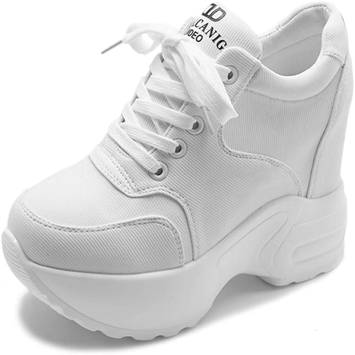 Gedigits Women Mesh Casual Platform Trainers White shoes Female Autumn Wedges Breathable Height Increasing shoes Red 7.5 M US