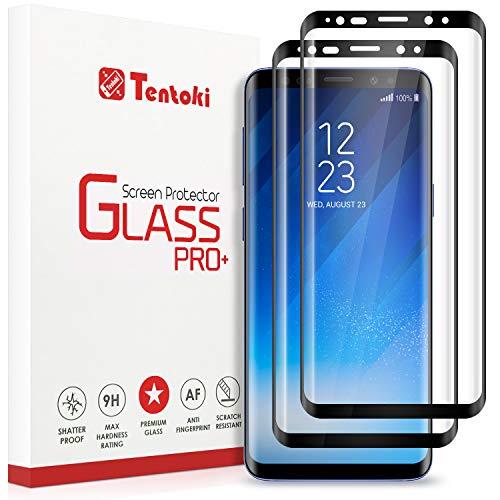 Tentoki Verre Trempé pour Samsung Galaxy S8, [Lot de 2] [Couverture Complète] Film Protection Ecran Vitre HD, [sans Bulles, Facile à Installer] Dureté 9H pour Samsung Galaxy S8