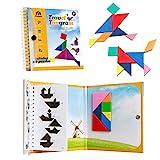Coogam Viaje magnético Tangram Puzzles Libro Juego Tangrams Jigsaw Formas Disección con Solución para Niños Adulto Holiday Traveler Tangoes Challenge IQ Educational Toy (360 Patrones)
