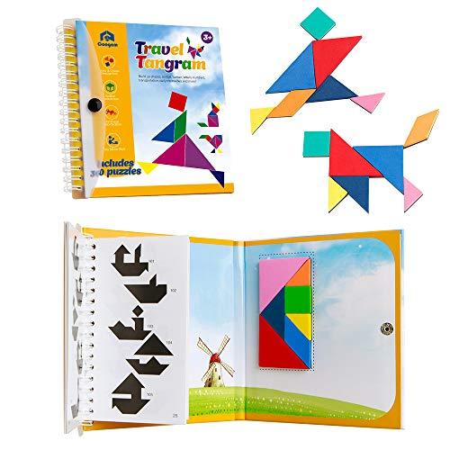 Coogam Magnetische Reizen Tangram-puzzels Boekspellen IQ Educatief speelgoed voor kinderen Volwassenen (360 patronen)