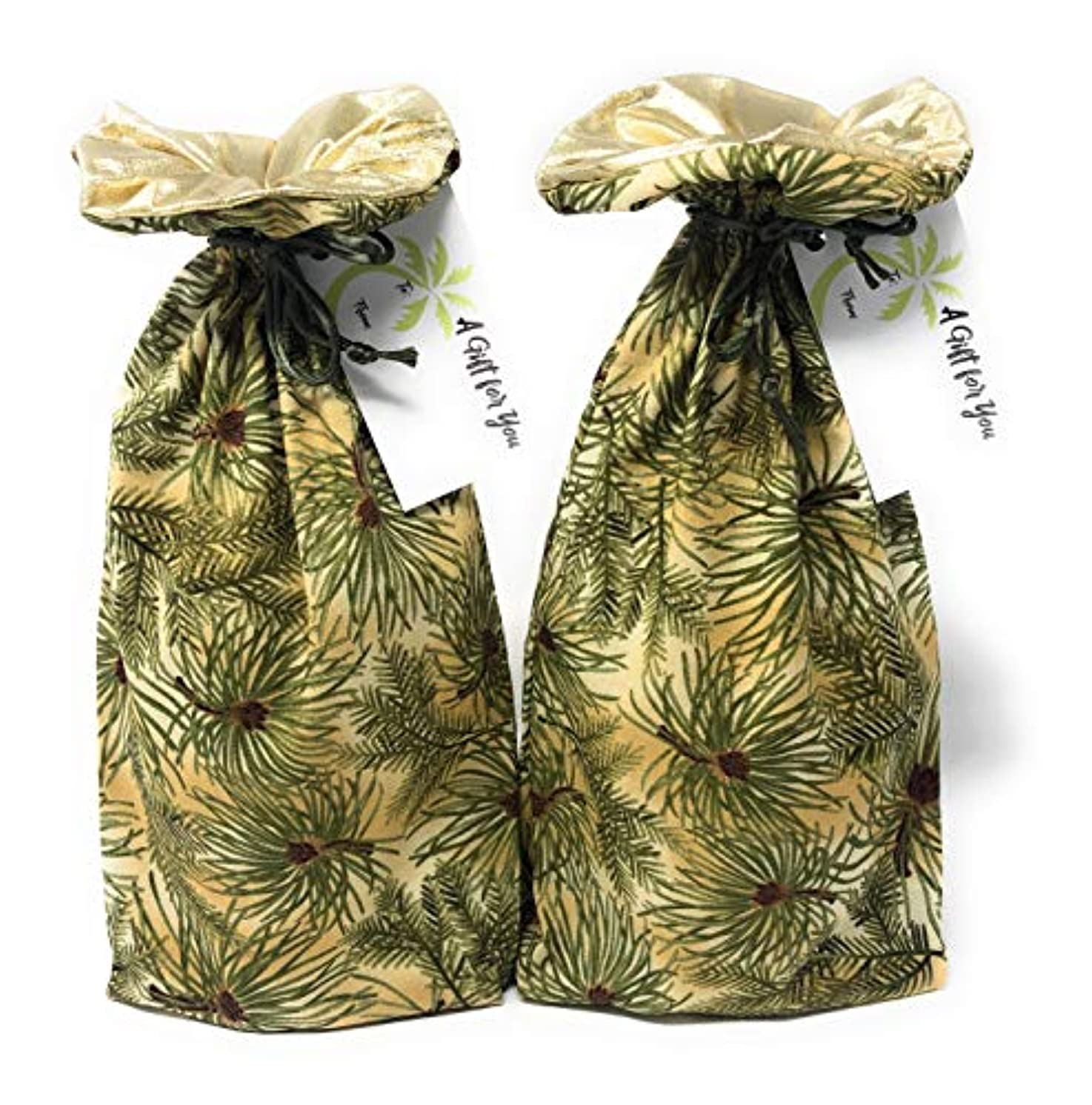 Holiday Pines Fabric -Reusable Drawstring Gift Bag   Eco-Friendly Alternative to Paper Giftwrap for Wine Bottles   Christmas Xmas   Cotton Cloth Fully-Lined Gold Lamé, 14