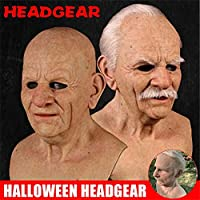The Elder Old Man Headgear for Masquerade Halloween Realistic Headgear Decor,Funny Horror Masquerade Performing Role Playing Props (B)