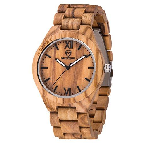 MUJUZE Reloj de Madera Relojes de Pulsera para Hombres y Mujeres Correa de sándalo y Manos Luminosas Reloj analógico de Madera de Cuarzo