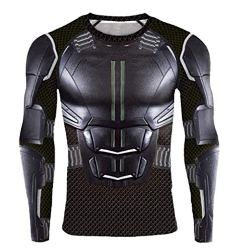 Camiseta de compresin para disfraz de superhroe, color negro, manga corta Negro Largo. XL