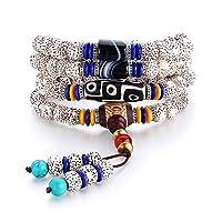 Yifuty 108 Armband Achat Dzi Armband-Halskette Männer und Frauen Halskette Achat-Armband Tragen von Schmuck, Sammeln ethnische Art 9x7mm