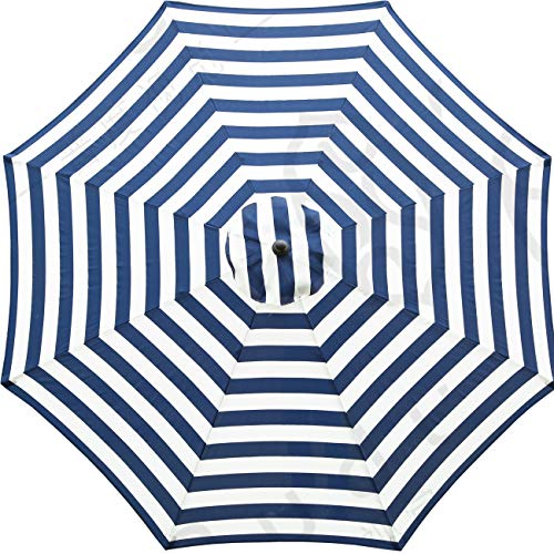 Sunnyglade 9ft Patio Umbrella Replacement Canopy Market Umbrella Top Outdoor Umbrella Canopy with 8 Ribs (Blue and White)
