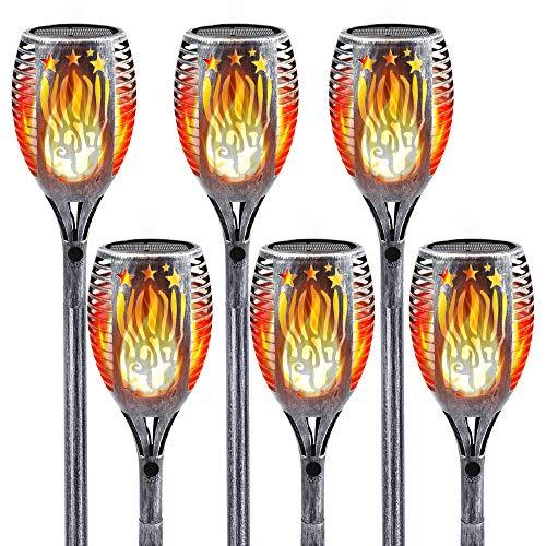 Worth Solarleuchte 109cm Solar Fackel Flammeneffekt 96LEDs IP65 Wasserdicht 3 Montagemodi Gartenleuchte Solarlampe Gartenfackeln (6 Stück, Silber)