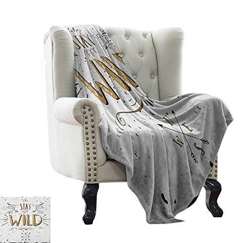 LsWOW Manta para Mujer con Frases en inglés «Say Hello to The Summer» en una Piscina con diseño de Flores y Chanclas de Escalera, Cama y sofá de fácil Cuidado