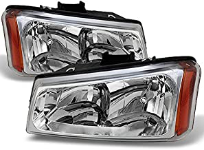 For 2003-2006 Chevy Silverado 1500 /2500HD /3500 Chrome Clear Headlights Front Lamps Direct Replacement Pair Left + Right
