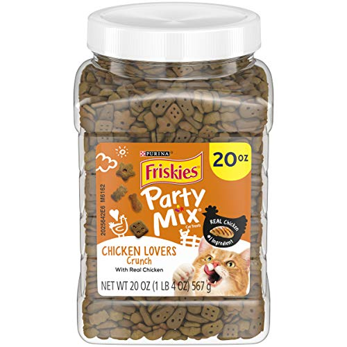 Purina Friskies Made in USA Cat Treats; Party Mix Chicken Lovers Crunch – 20 oz. Canister
