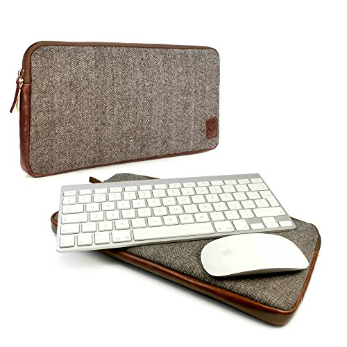 Tuff-luv Herringbone Tweed Travel Case for Bluetooth Magic Mouse and Keyboard - Brown